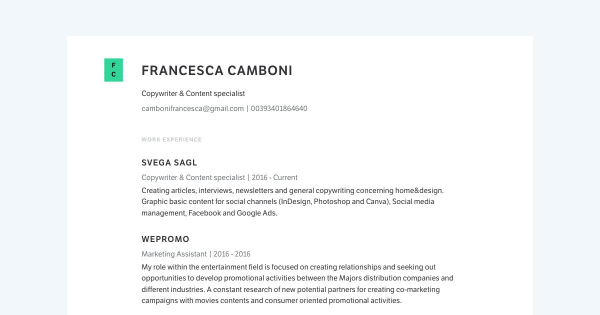 Copywriter & Content Specialist resume template sample made with Standard Resume