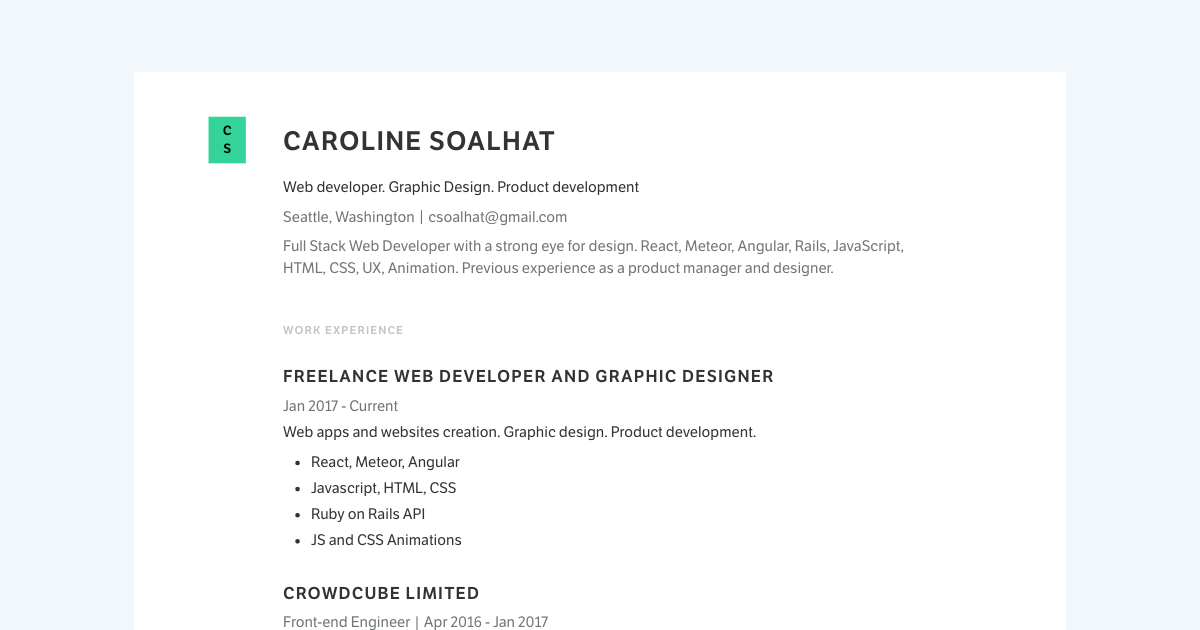 Web Developer & Graphic Designer resume template sample made with Standard Resume