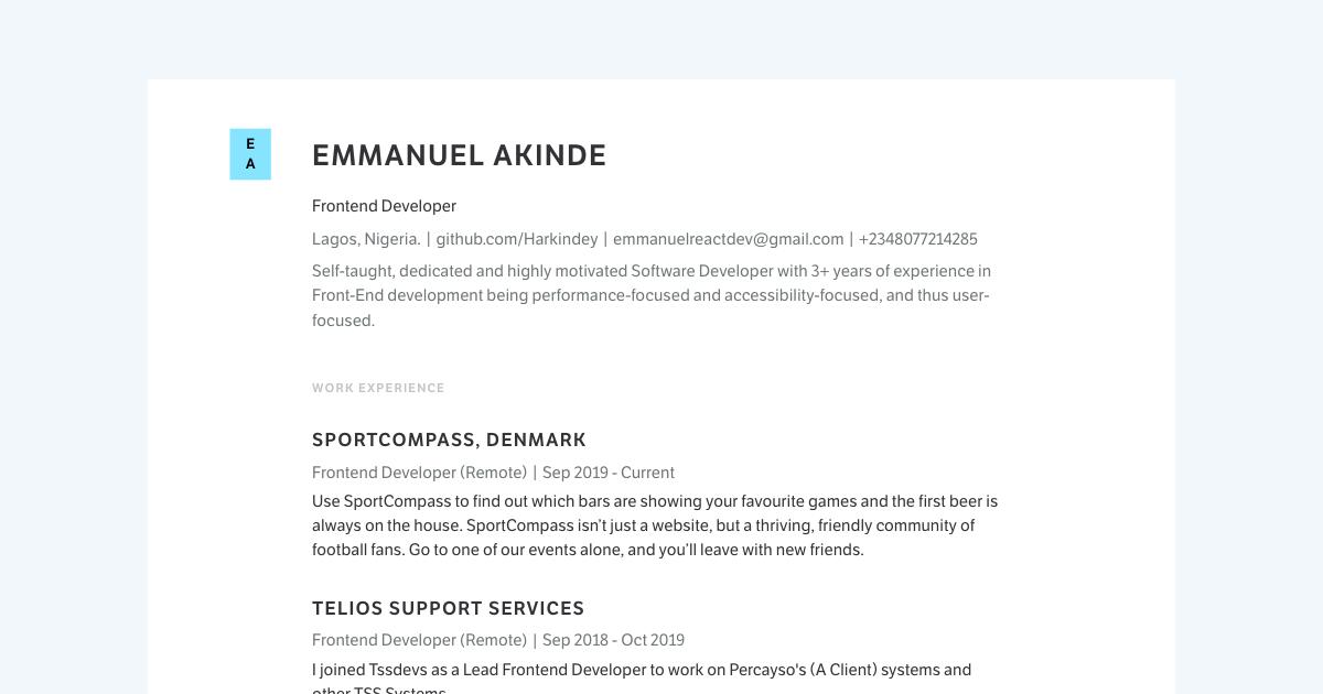 Front End Developer resume template sample made with Standard Resume