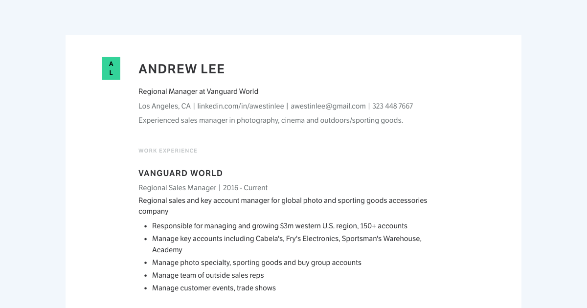 Regional Manager resume template sample made with Standard Resume