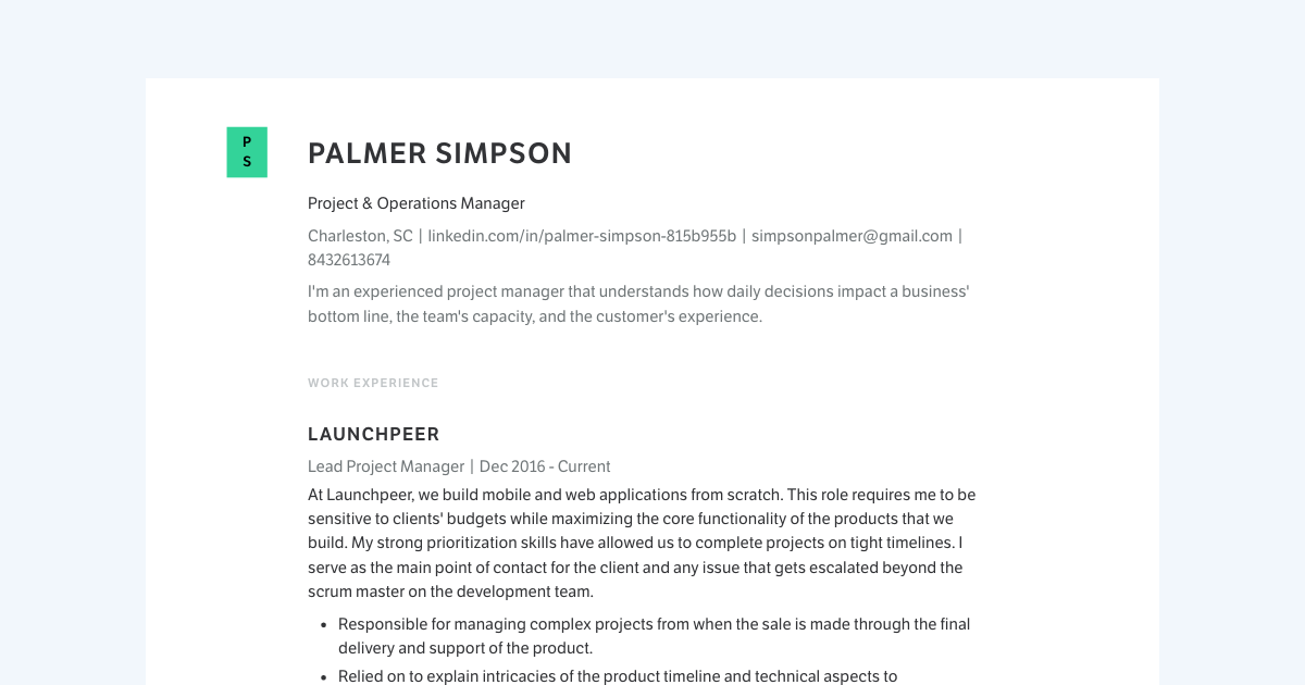 Project & Operations Manager resume template sample made with Standard Resume