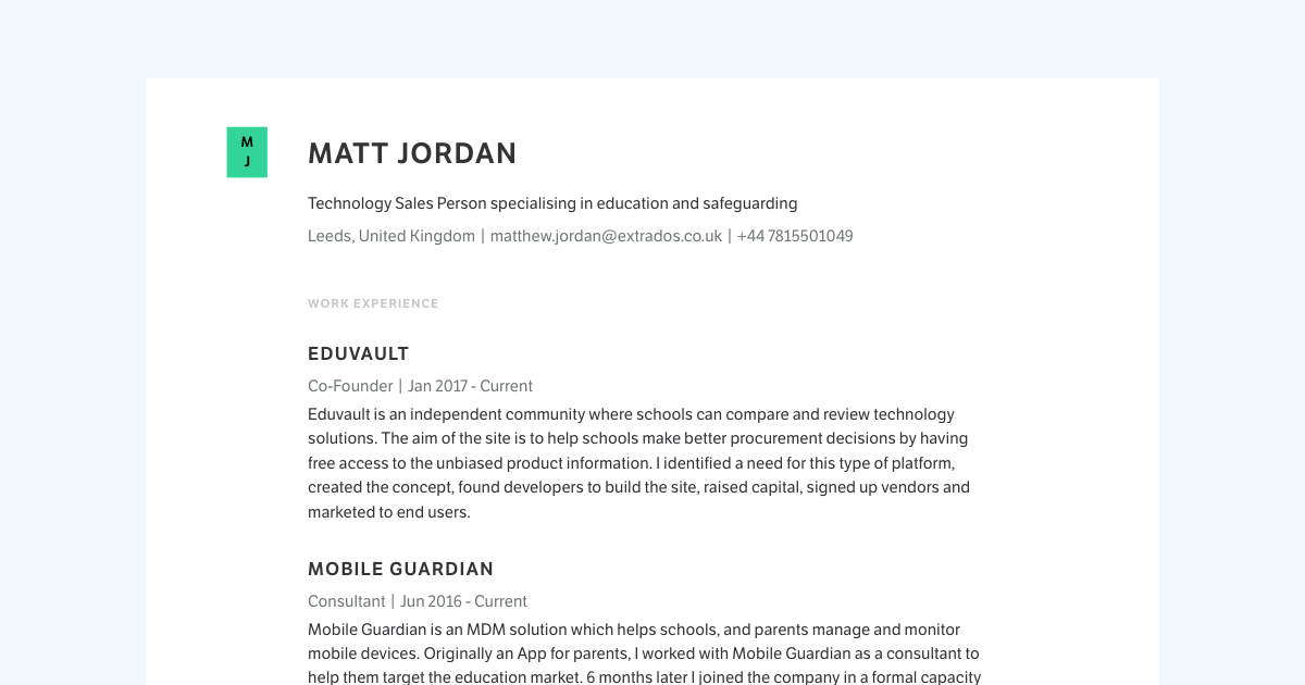 Technology Sales Manager resume template sample made with Standard Resume