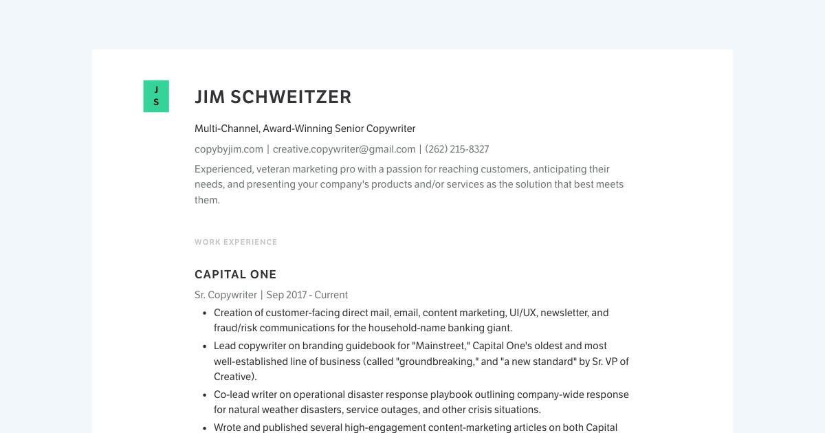 Senior Copywriter resume template sample made with Standard Resume