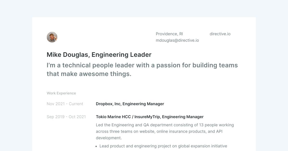 Engineering Leader resume template sample made with Standard Resume