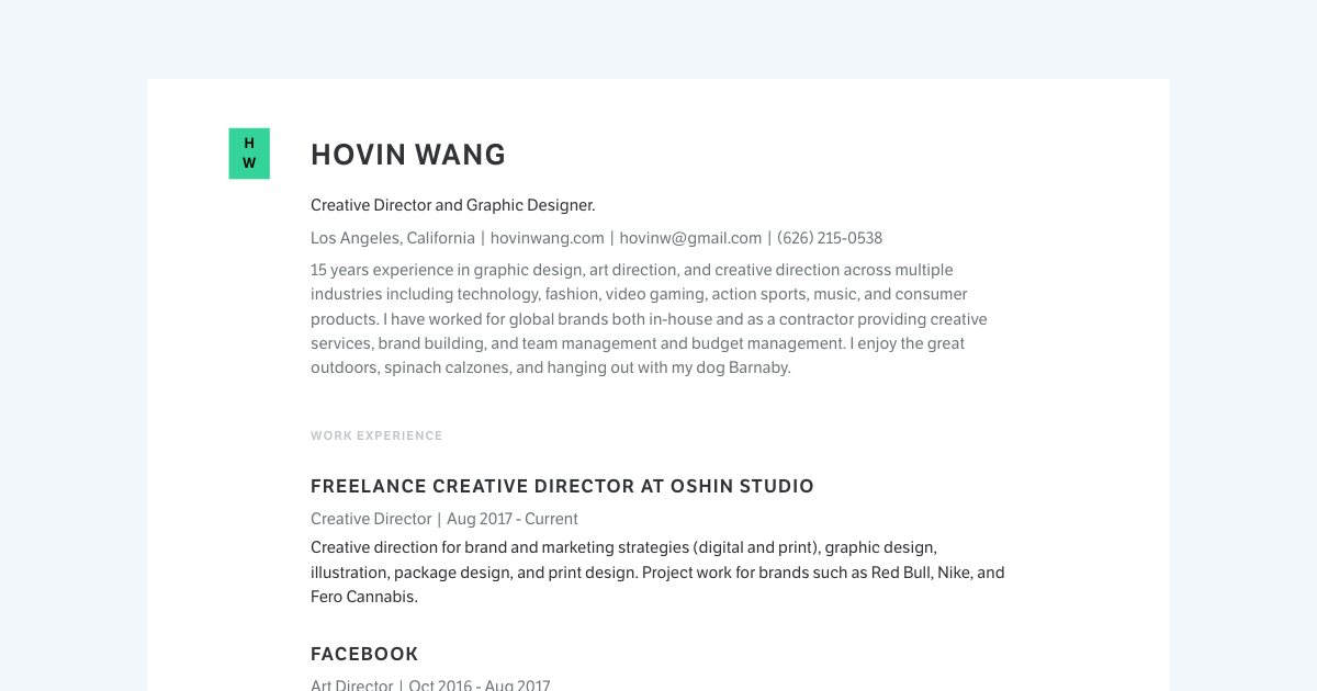 Creative Director & Graphic Designer resume template sample made with Standard Resume
