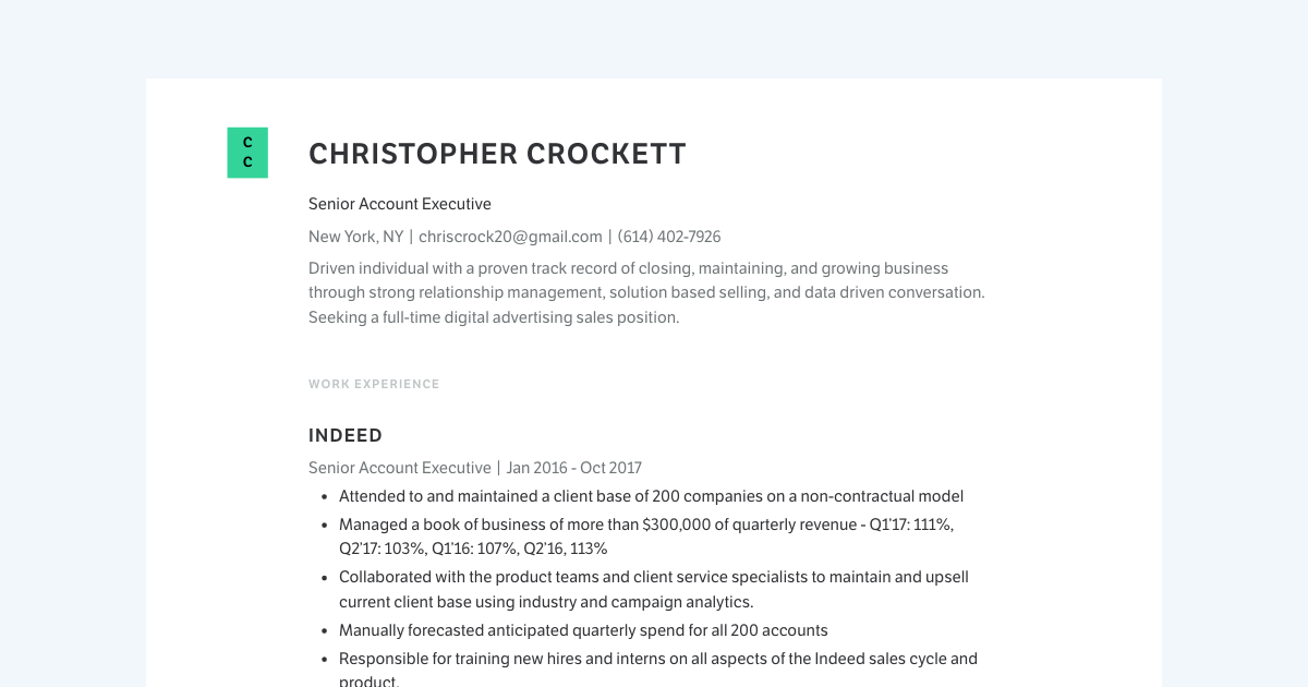 Senior Account Executive resume template sample made with Standard Resume