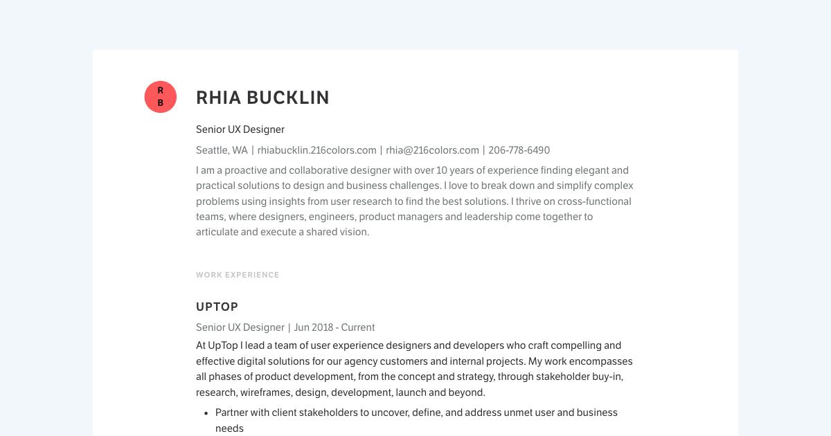Senior UX Designer resume template sample made with Standard Resume