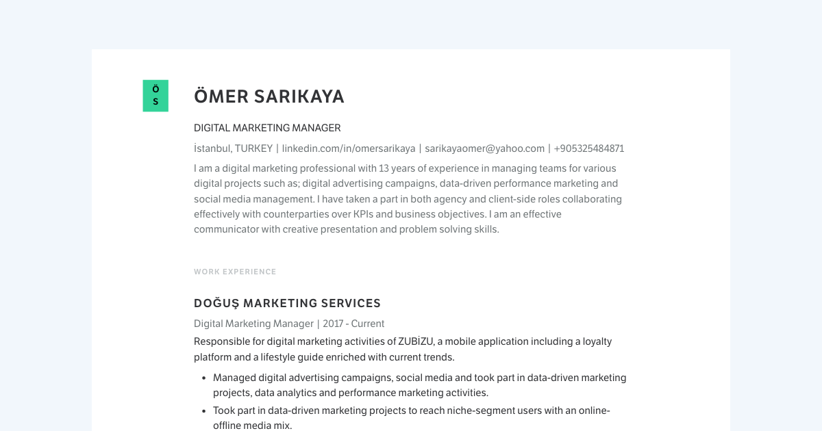 Digital Marketing Manager resume template sample made with Standard Resume