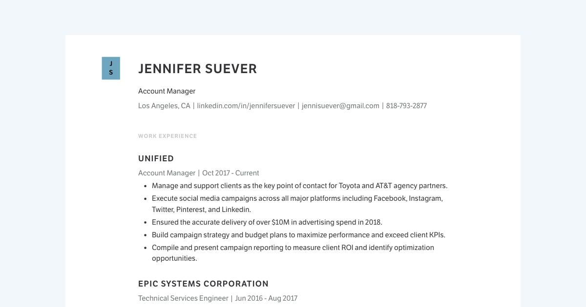 Account Manager resume template sample made with Standard Resume