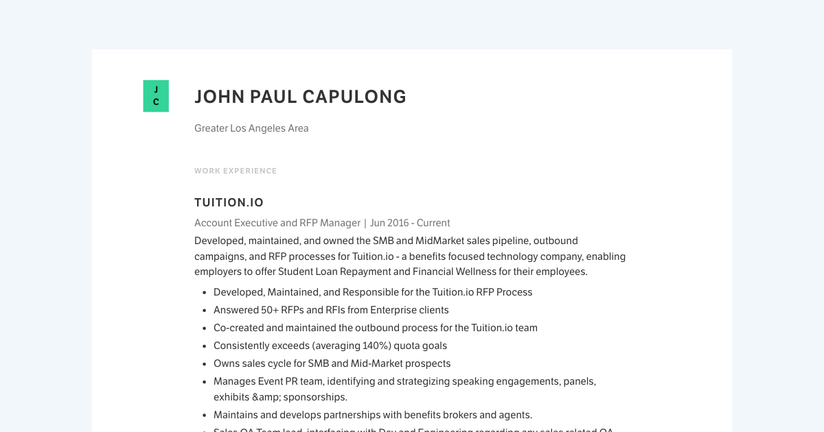 Account Executive resume template sample made with Standard Resume