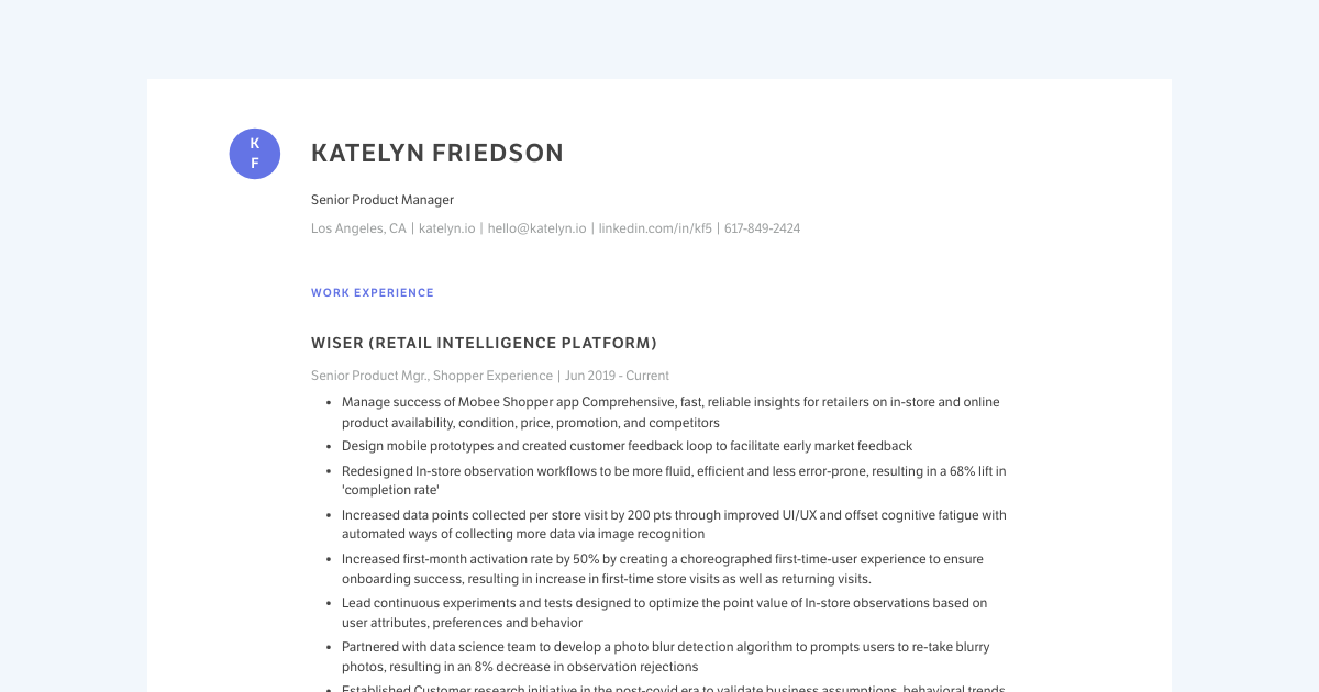 Senior Product Manager resume template sample made with Standard Resume