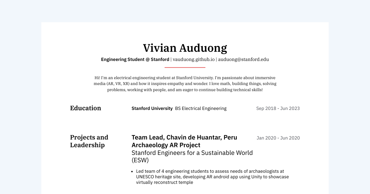 ME + CS Student at Stanford resume template sample made with Standard Resume