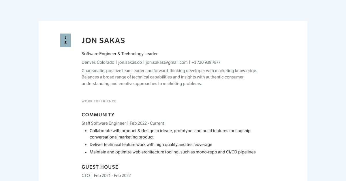 Founder & Engineering Manager resume template sample made with Standard Resume
