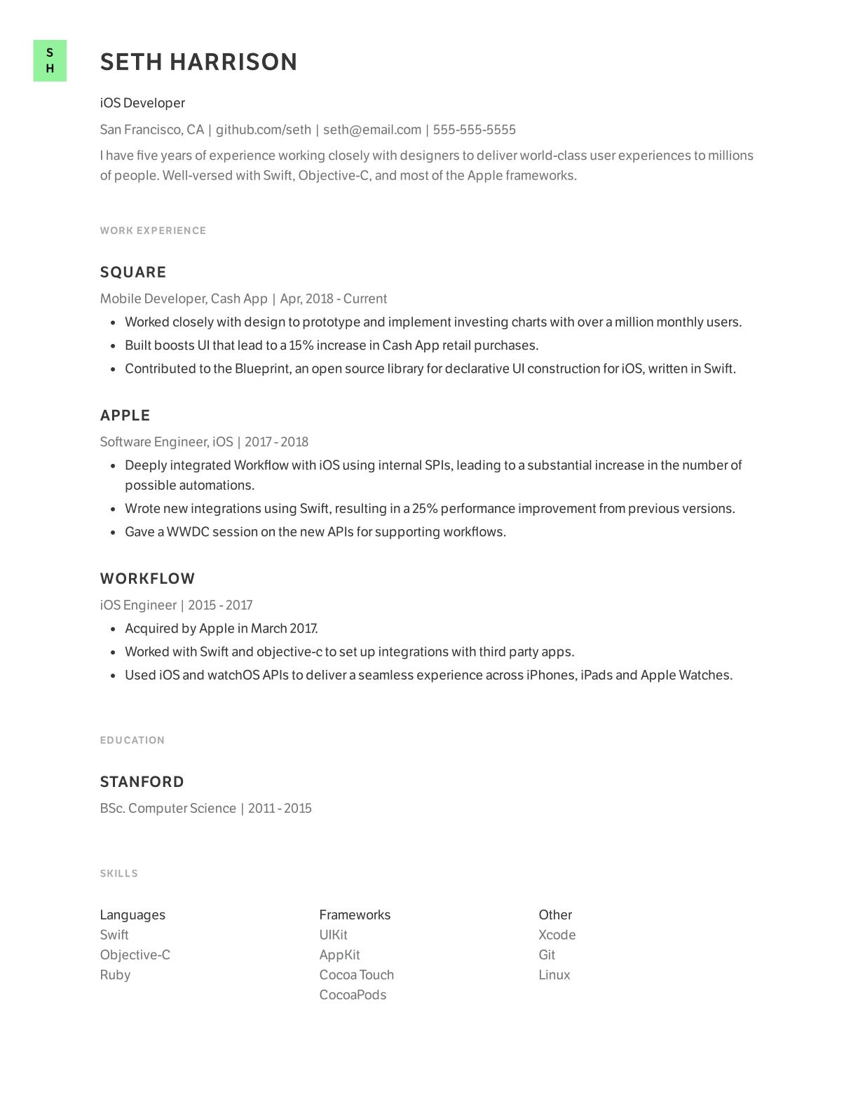 iOS Developer resume template example