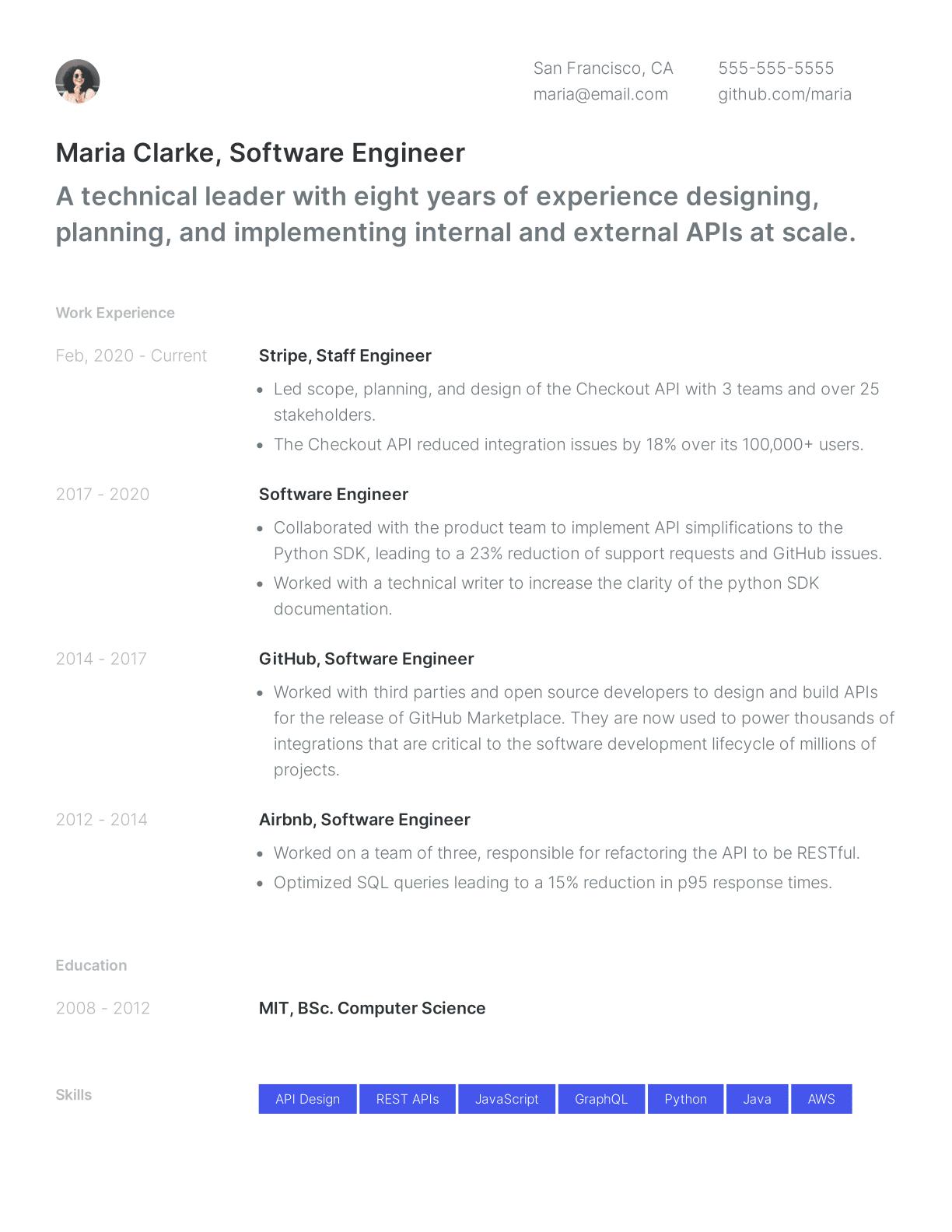 Software engineer resume template sample
