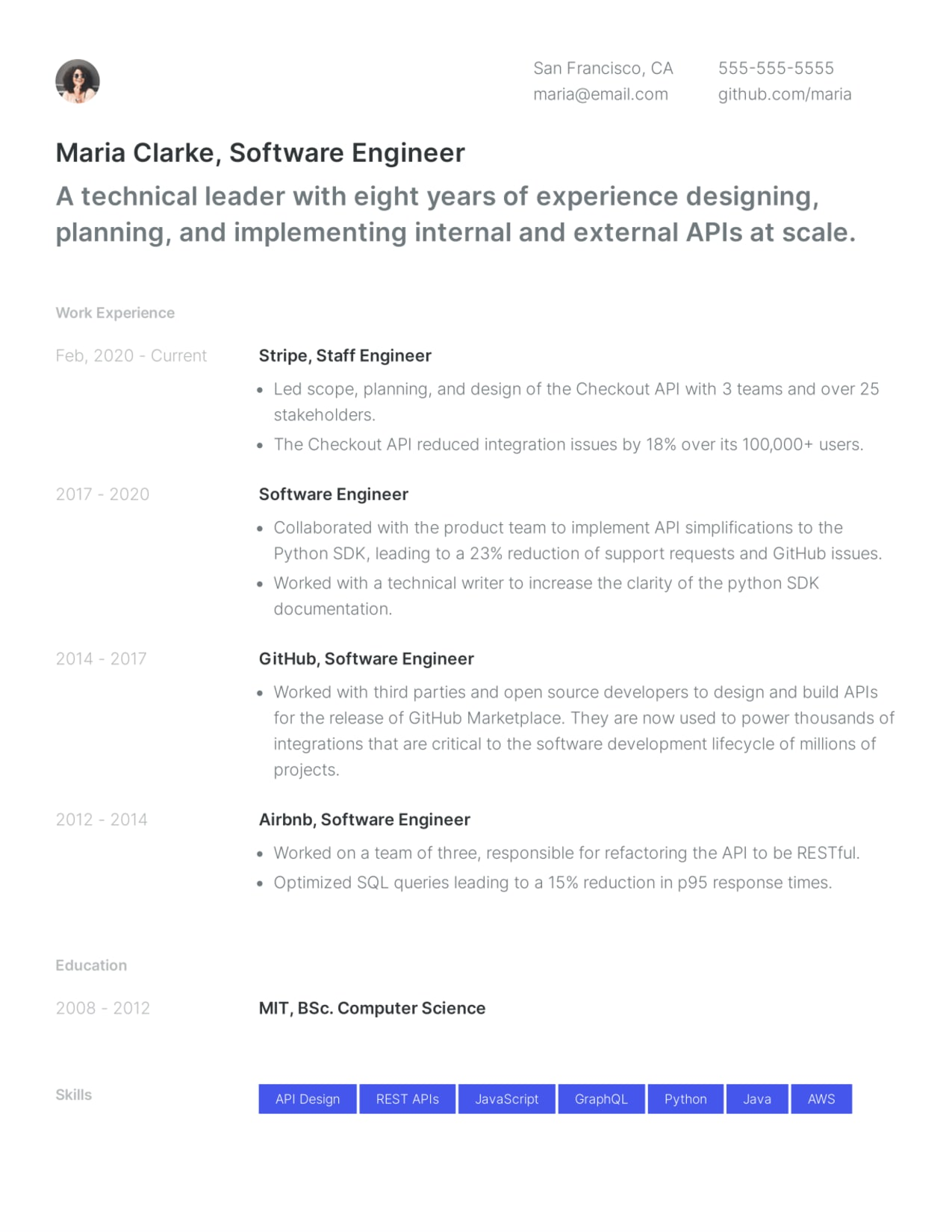 Software engineer resume example made with Standard Resume's LinkedIn resume builder.