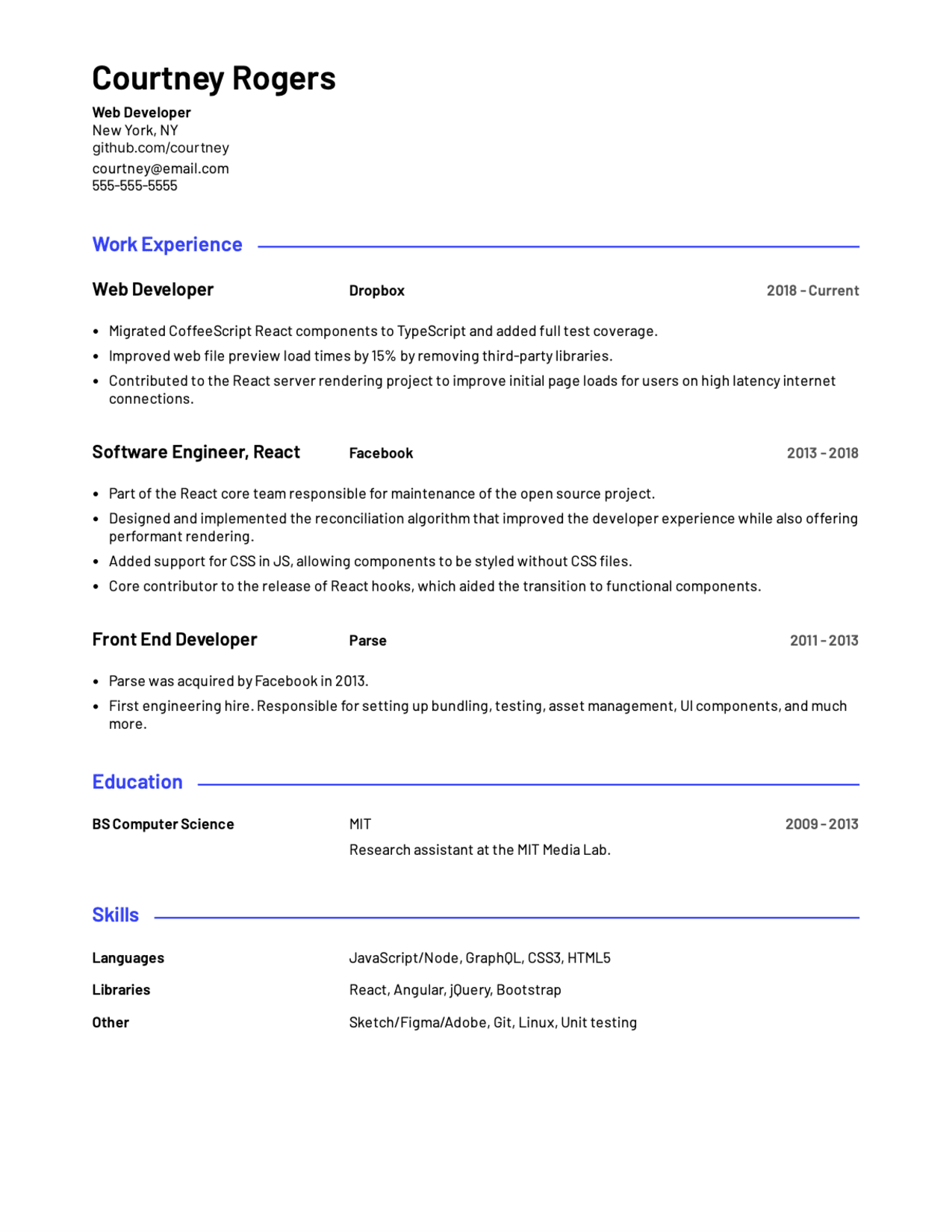 Resume sample for web developer. Built with Standard Resume onlin resume builder.
