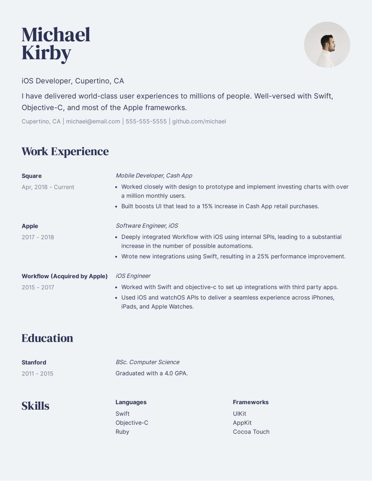 Creative iOS Developer resume sample.