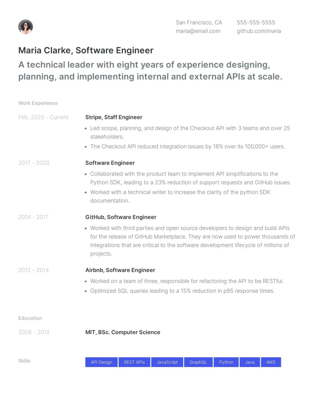 Creative Software Engineer resume template sample.