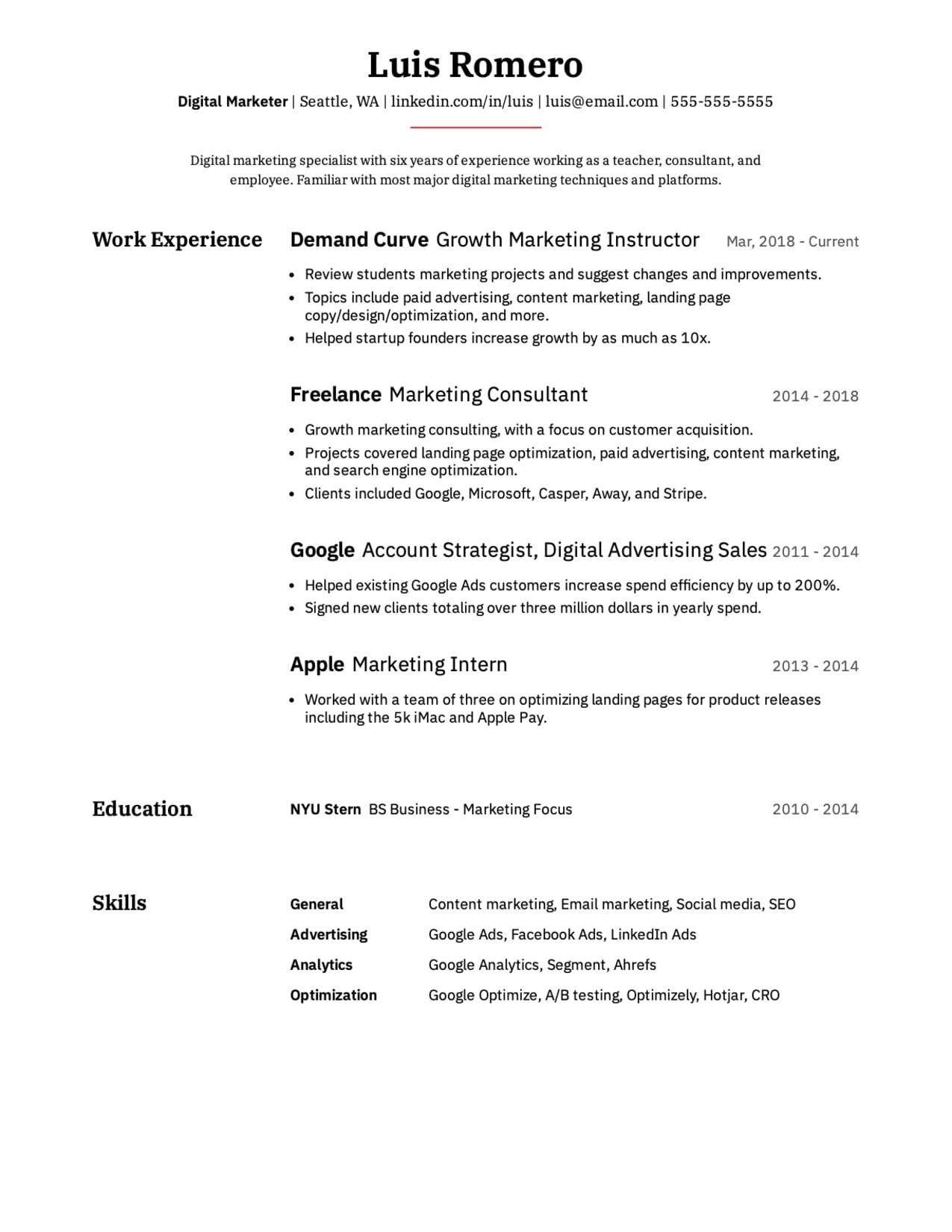 Professional Digital Marketer resume sample.
