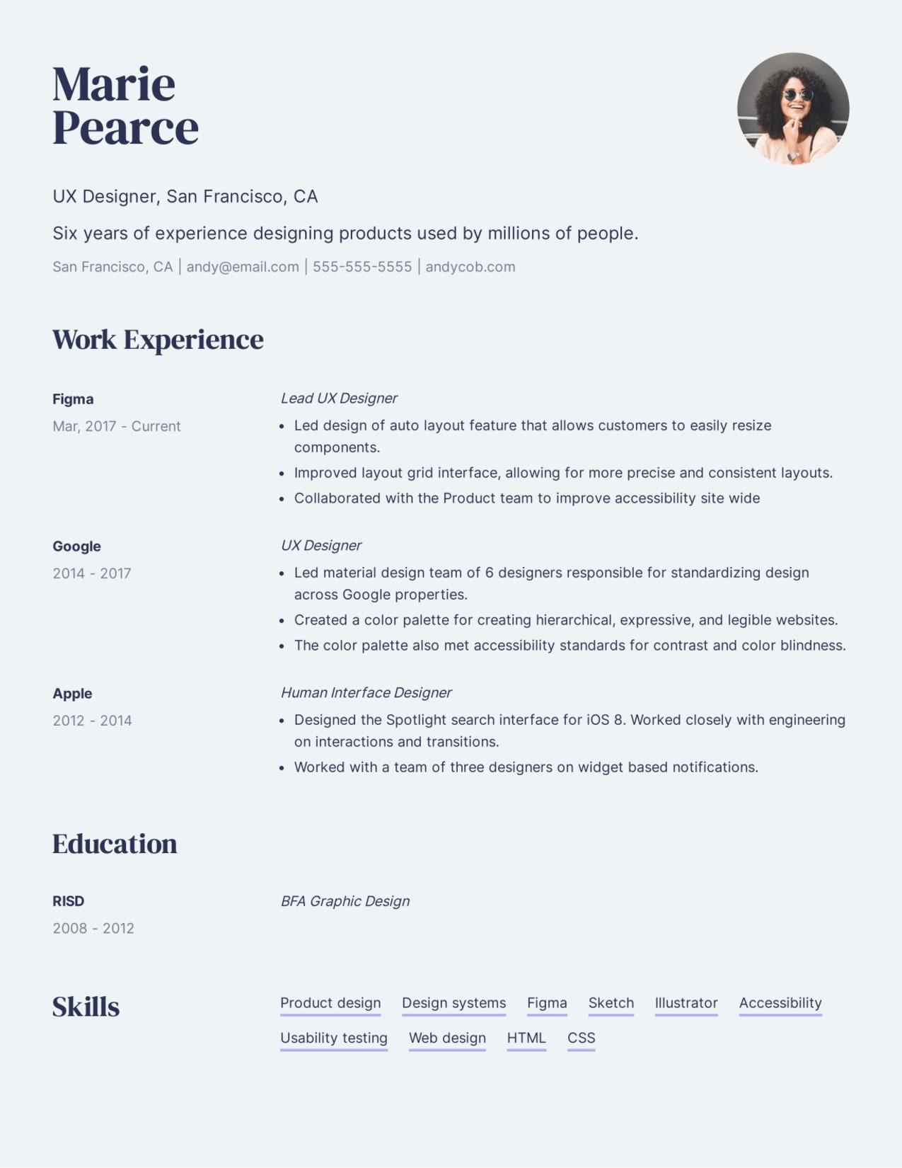 Professional UX Designer resume example.