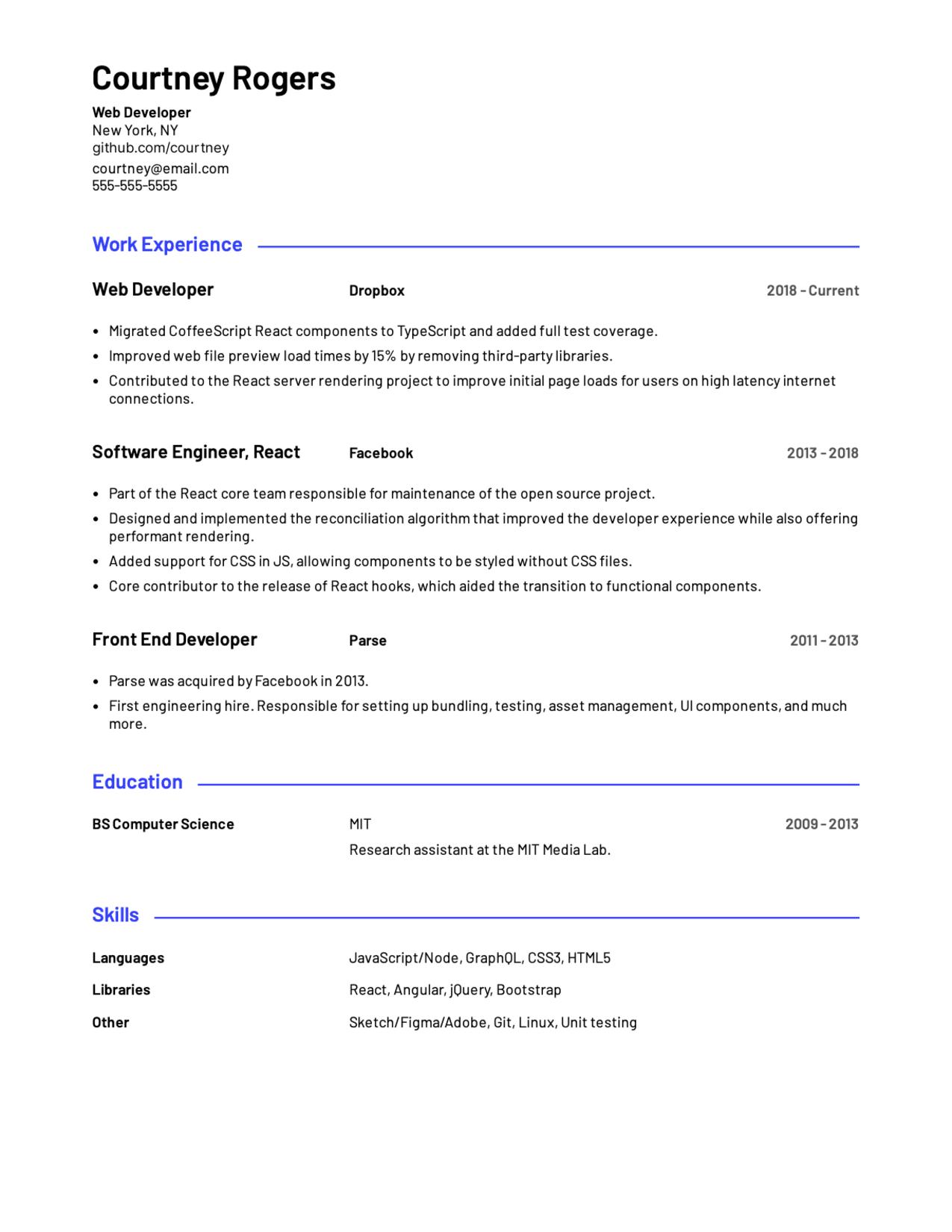 Professional Web Developer resume template sample.
