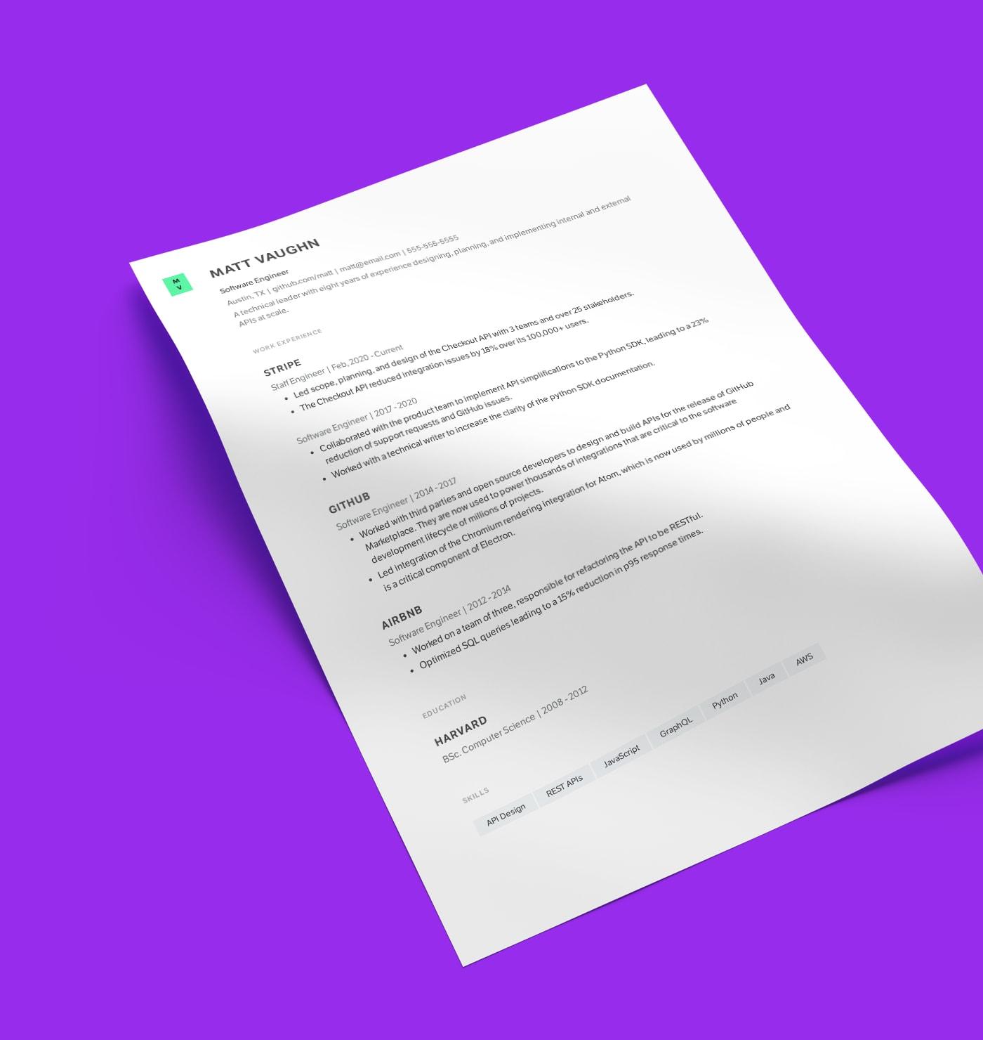 Sidney modern resume template made with Standard Resume builder.
