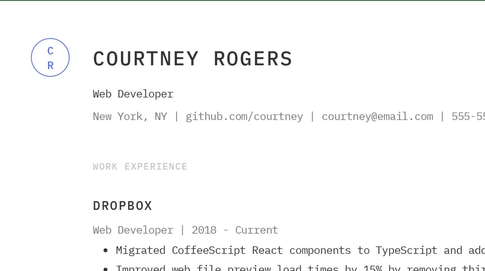 Design details of simple Web Developer resume sample.