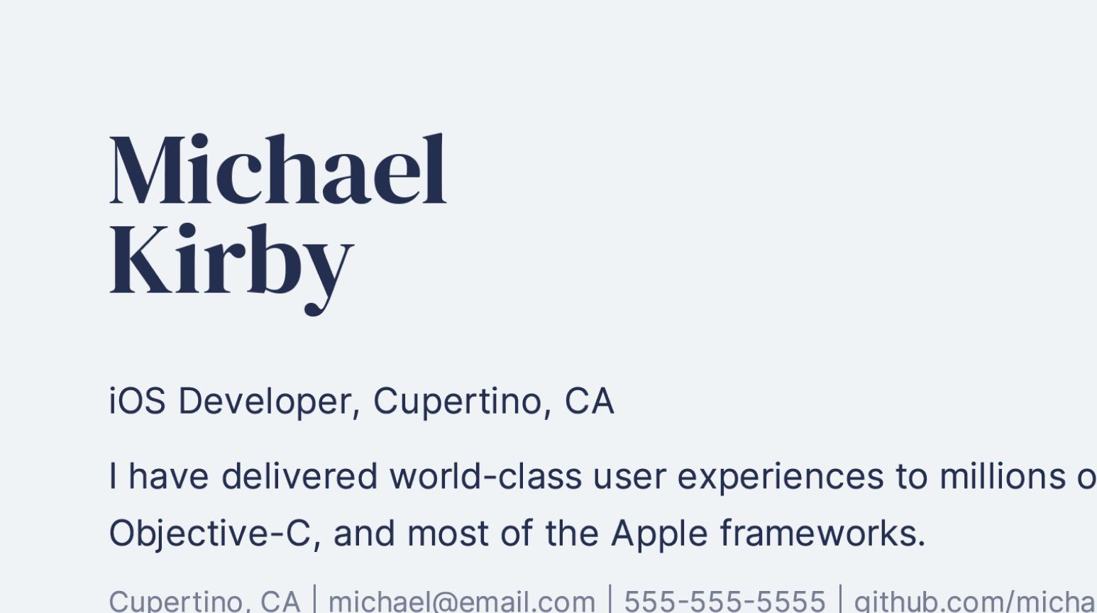 Design details of creative iOS Developer resume sample.