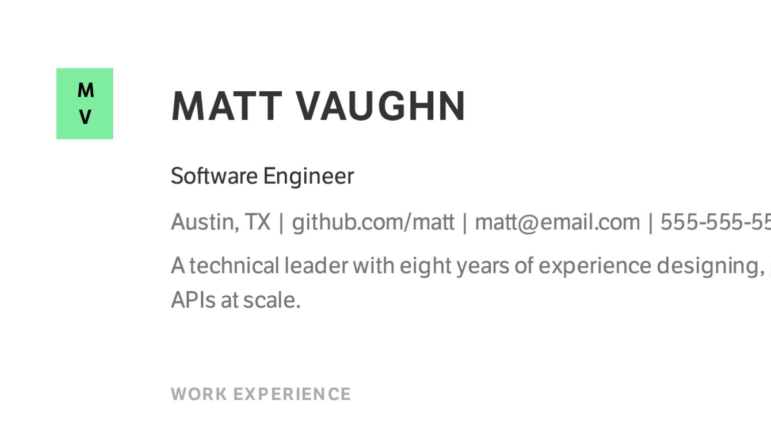 Design details of modern Software Engineer resume sample.
