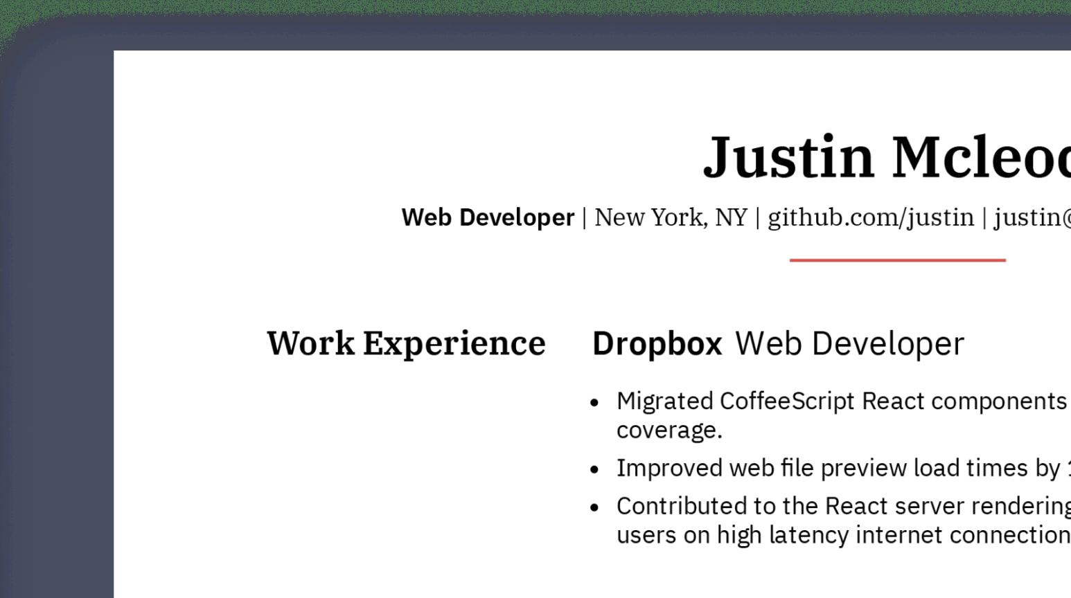 Design details of professional web developer resume sample.