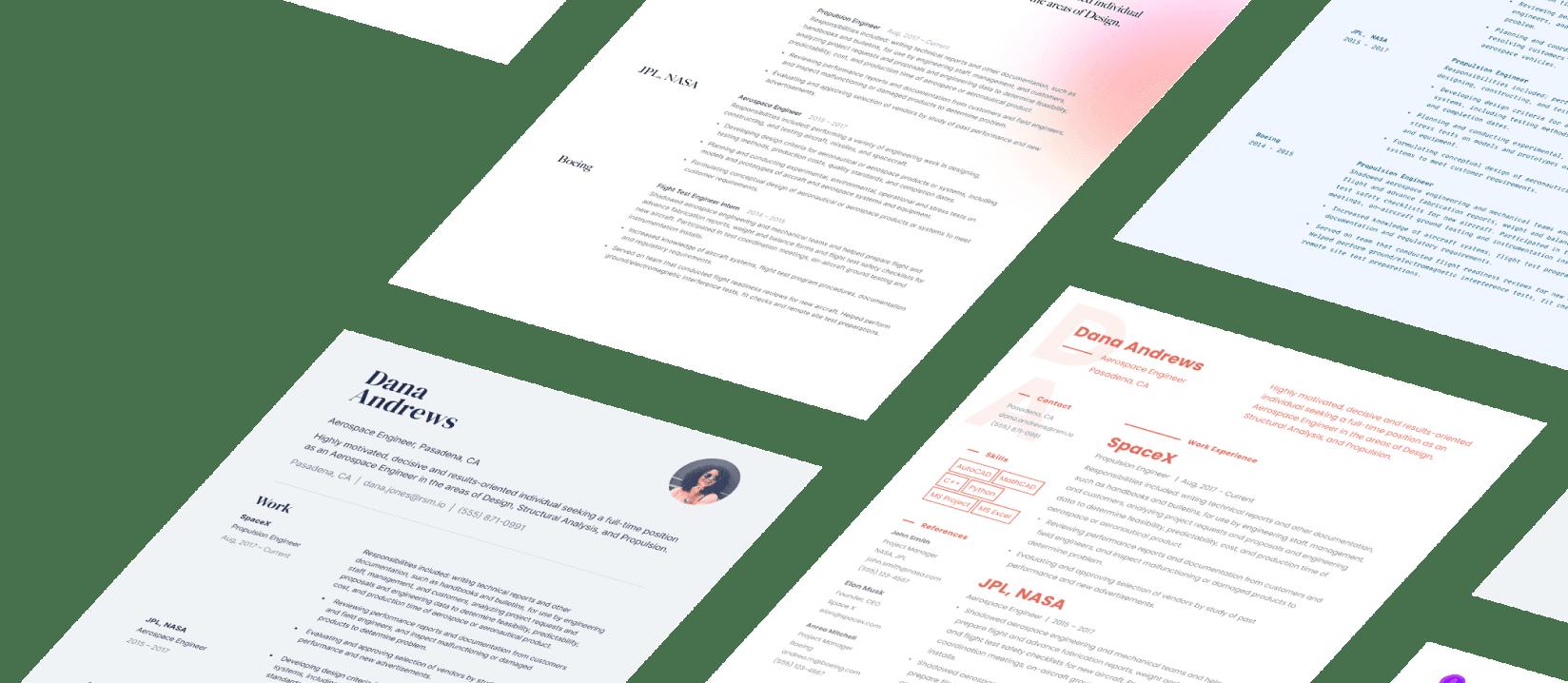 Resumes built using Standard Resume templates