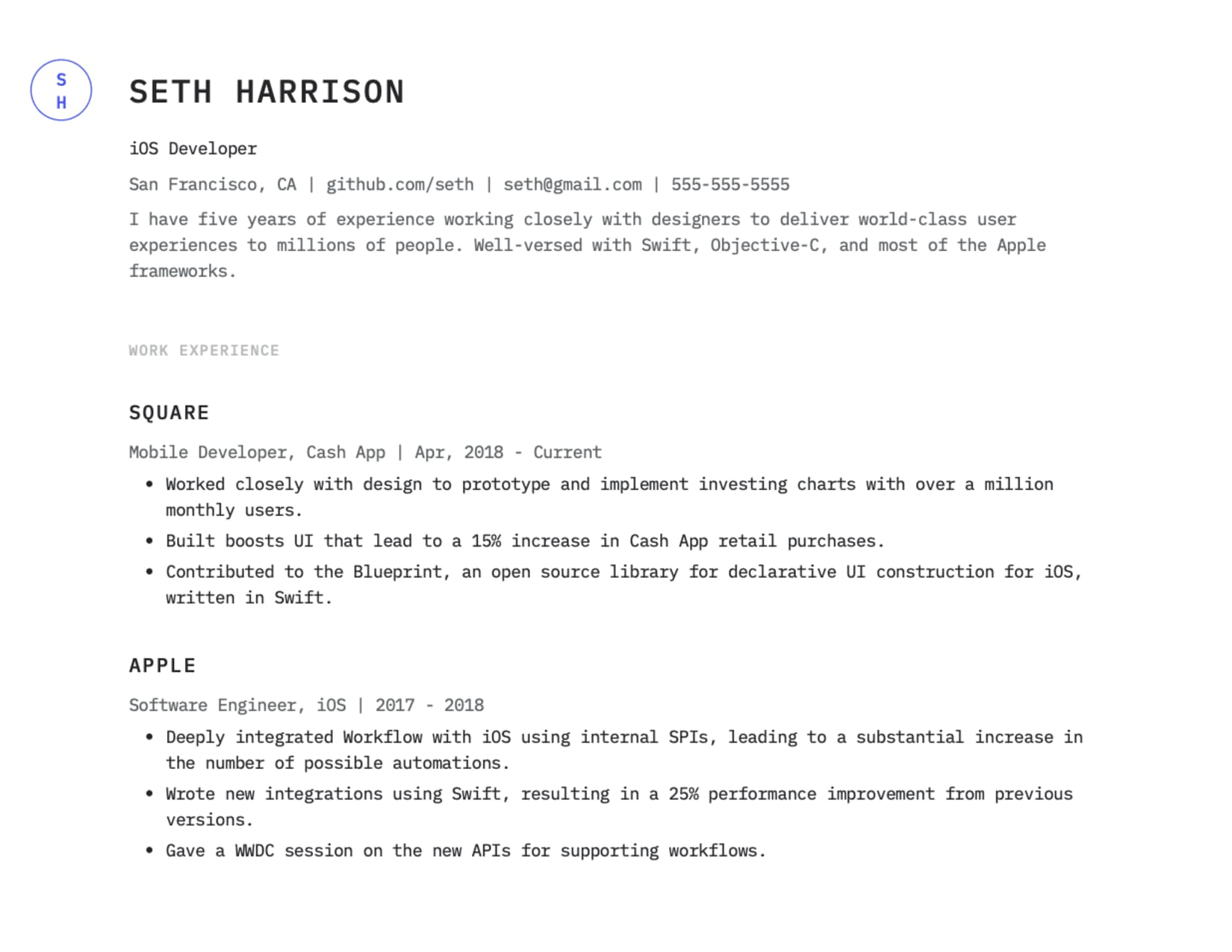 iOS developer example resume template