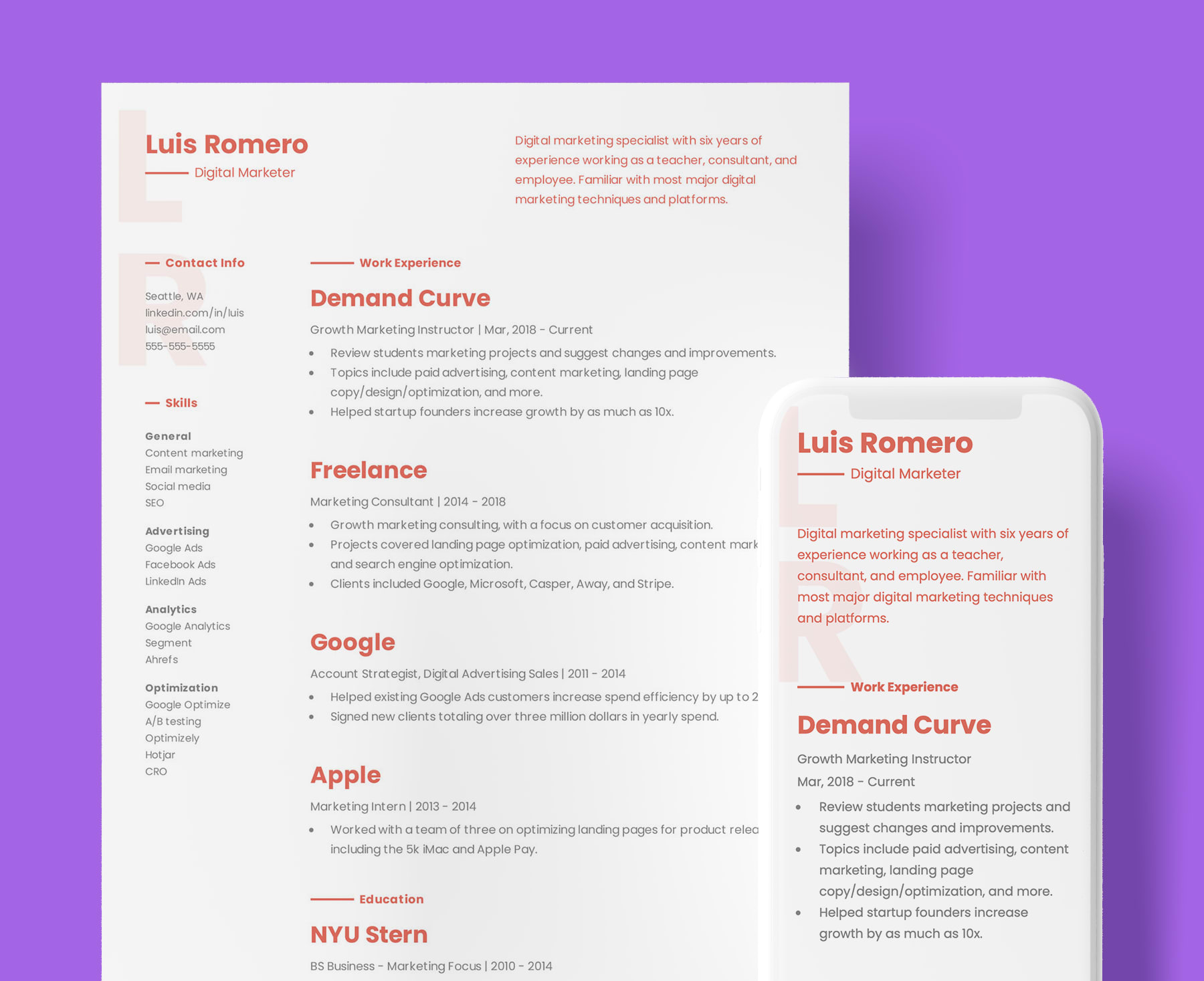Creative Product Designer resume template