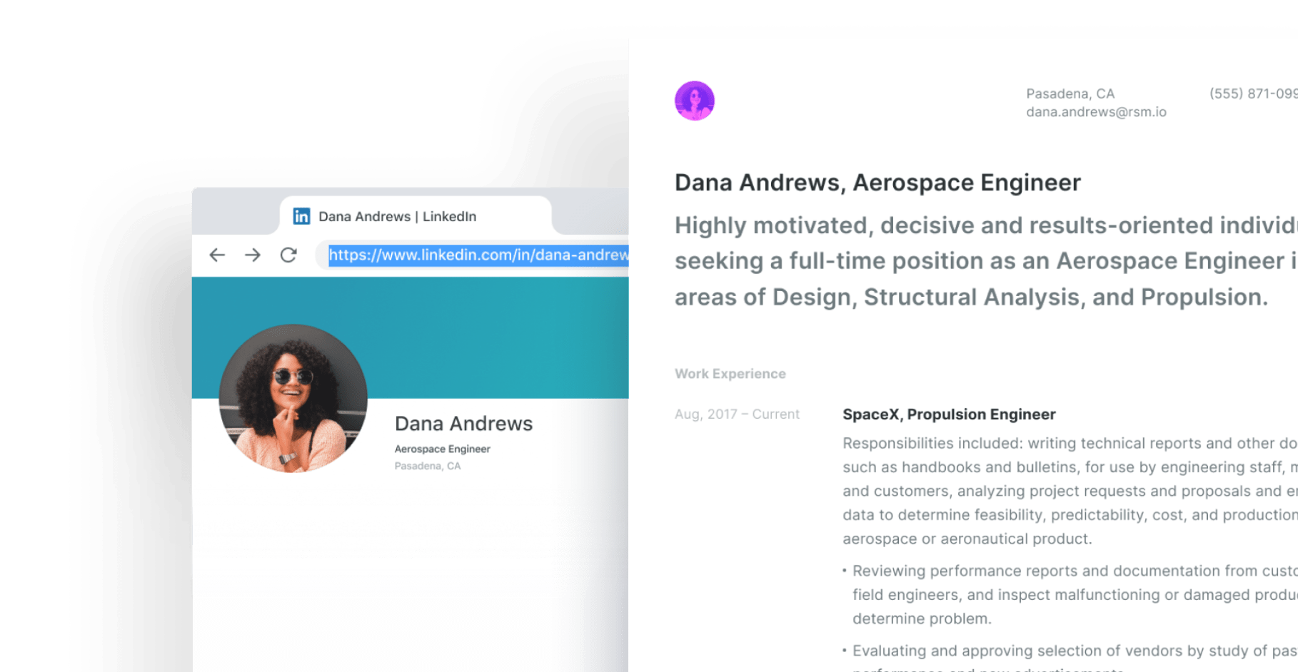 LinkedIn modern resume builder.