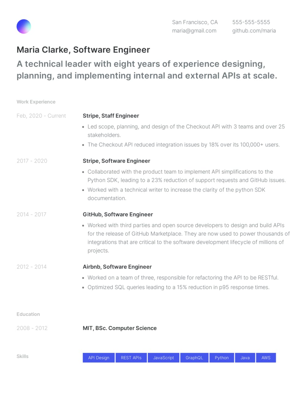 Example resume built with Standard Resume